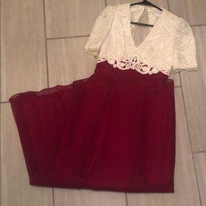 Vintage cream lace maroon vintage dress small